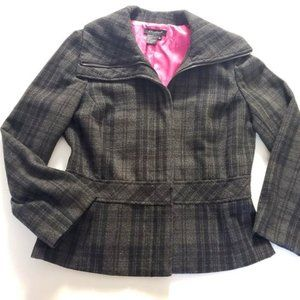 Sandro Wool Blend Grey Plaid Peplum Jacket Blazer